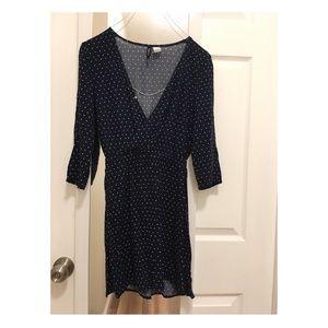 New h&m long sleeve polka dot dress- navy, S!